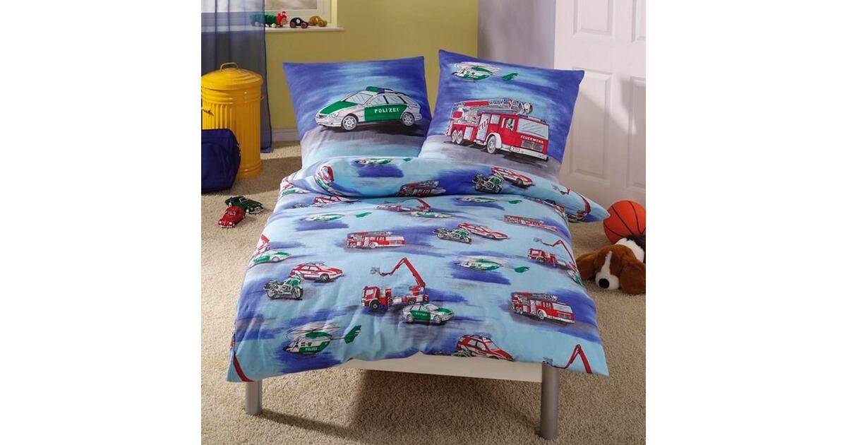 ido feinbiber bettw sche polizei feuerwehr 80x80 135x200 cm online kaufen baby walz. Black Bedroom Furniture Sets. Home Design Ideas