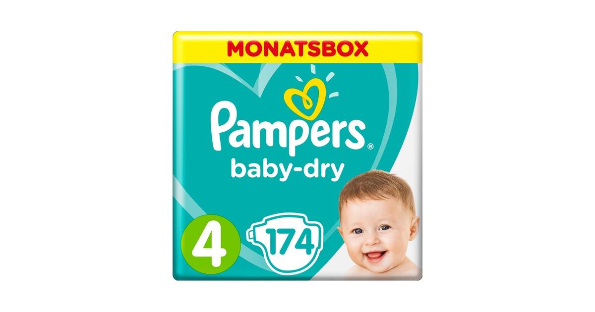 pampers baby dry windeln gr 4 9 14 kg monatsbox 174 st. Black Bedroom Furniture Sets. Home Design Ideas