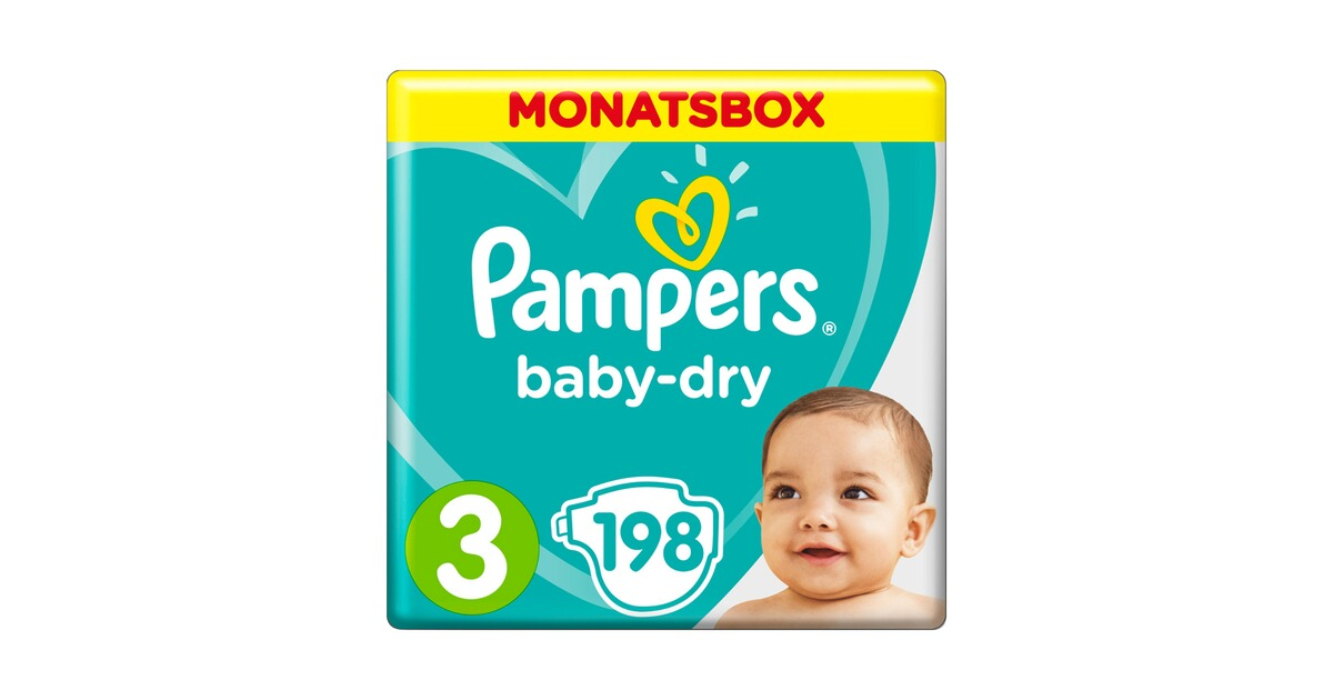 pampers baby dry windeln gr 3 6 10 kg monatsbox 198 st online kaufen baby walz. Black Bedroom Furniture Sets. Home Design Ideas