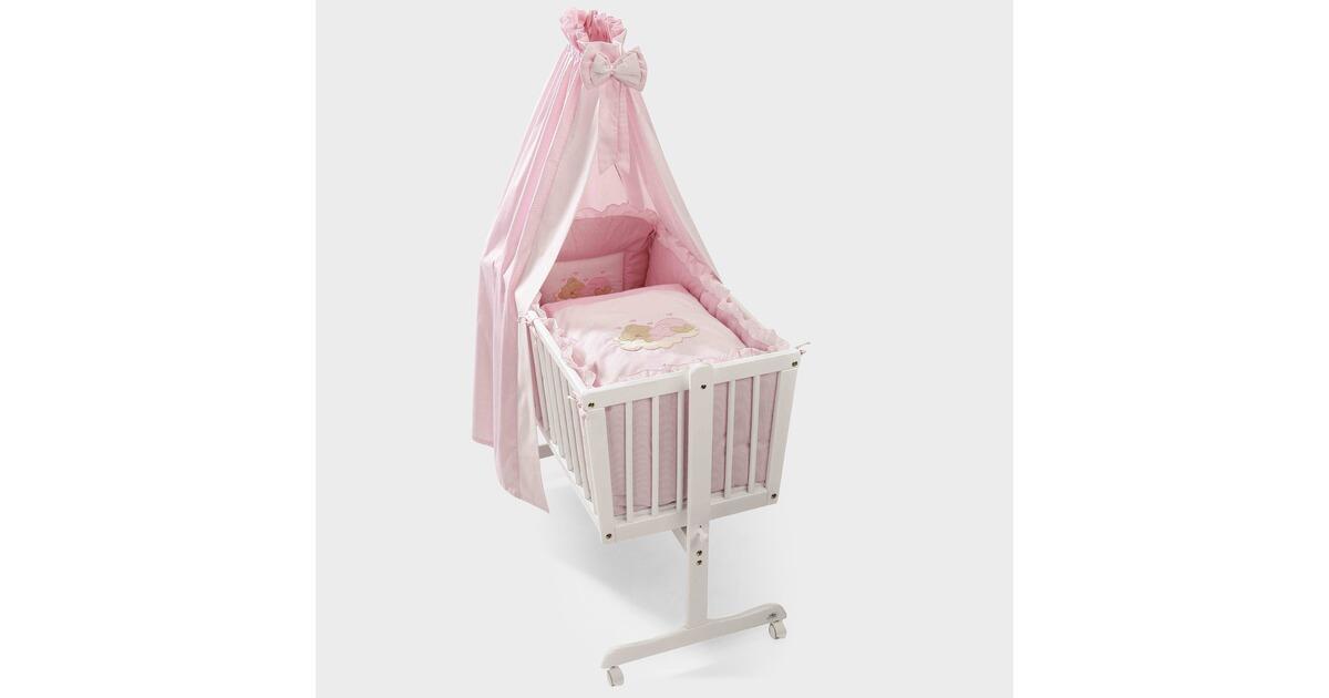 Babybett cm alpinweiss rosa woody  holz modern