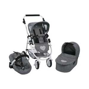 Bayer Chic  Kombi-Puppenwagen 3in1 Set Emotion All In  jeans/grau