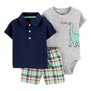 CARTER´S3-tlg. Set Body kurzarm, Polo-T-Shirt und Shorts Dino 1