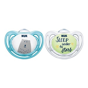 NUK2-er-Pack Schnuller Freestyle Day & Night Silikon 6-18 Monate  blau 1