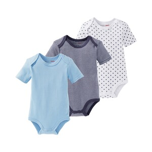 Bornino MOUSE & ELEPHANT 3er-Pack Bodys kurzarm  blau