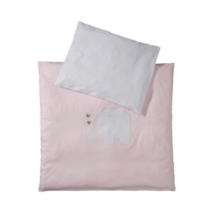 BORNINO HOME  Jersey-Bettwäsche Elefant 35x40 / 80x80 cm  rosa