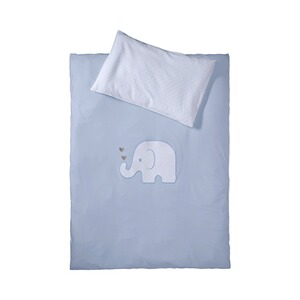 BORNINO HOME  Jersey-Bettwäsche Elefant 40x60 / 100x135 cm  blau