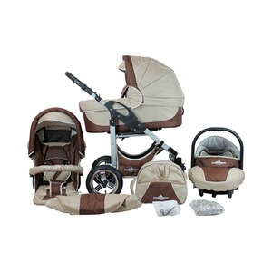 Bergsteiger  Capri Kombikinderwagen Trio-Set mit Wickeltasche  coffee/brown