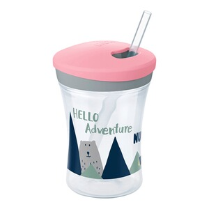 NUKTrinklernbecher mit Strohhalm, Action Cup 230 ml, ab 12 Monate  rosa / Hello Adventure 1