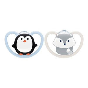 NUK2er-Pack Schnuller Space 0-6M  Pinguin / Polarfuchs 1