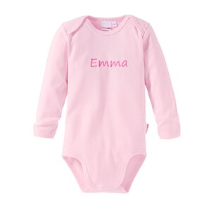 BORNINO BASICS Body langarm mit Namen  rosa
