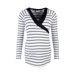 2hearts WE LOVE BASICS Still-Shirt langarm Wellness marine  Weiß / Marine