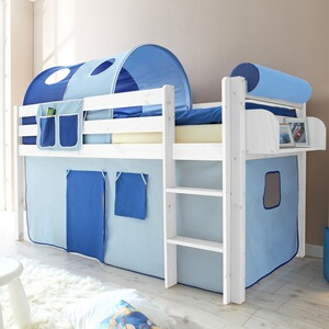 Schon TICAA Hochbett Malte 90x200 Cm Blau/weiß