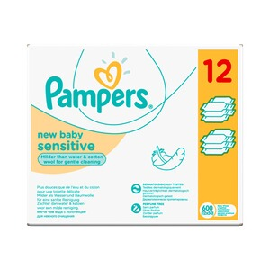 PAMPERS  12er-Pack Feuchttücher New Baby Sensitive, 600 Stück