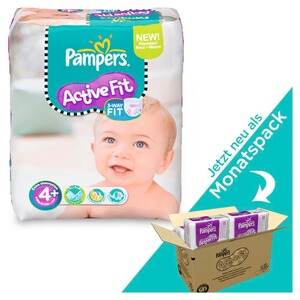 PAMPERS  Active Fit Windeln Gr. 4+ 9-18 kg Monatsbox 140 St.