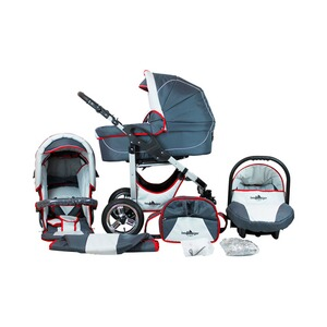 Bergsteiger  Capri Kombikinderwagen Trio-Set mit Wickeltasche  grey/red stripes
