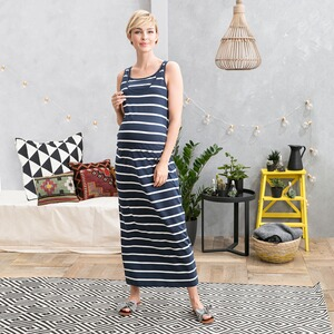 2hearts WE LOVE BASICS Umstands- und Still-Kleid Stripes lang