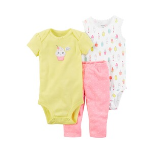 CARTER´S  3-tlg. Set Body kurzarm, Body ohne Arm und Leggings Cupcake Eis