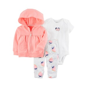 CARTER´S  3-tlg. Set Sweatjacke, Body kurzarm und Leggings Erdbeere