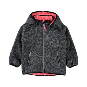 NAME IT  Softshelljacke Strickoptik mit Teddyfell  grau/pink
