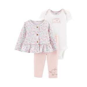 CARTER´S  3-tlg. Set Body kurzarm, Jacke und Leggings Blumen Loved