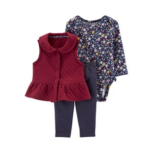 CARTER´S  3-tlg. Set Body langarm, Stepp-Sweatweste und Jeggings Blumen