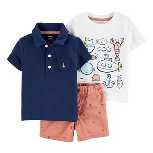 CARTER´S  3-tlg. Set Polo-T-Shirt, T-Shirt und Webshorts Maritim