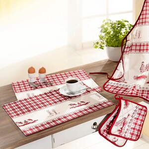 Ensemble de cuisine « Ferme »  Tablier, Maniques, Sets de table