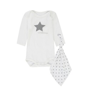 Bellybutton  Geschenkset: Body langarm + Stofftuch  bright white