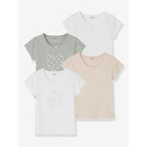a7522714b7 Vertbaudet HAPPY PRICE 4er-Pack Mädchen T-Shirts gemustert hellgrau