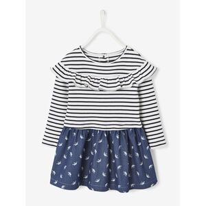 Vertbaudet Mädchen Kleid Sweatware Denim marine gestreift 0cf05c67be