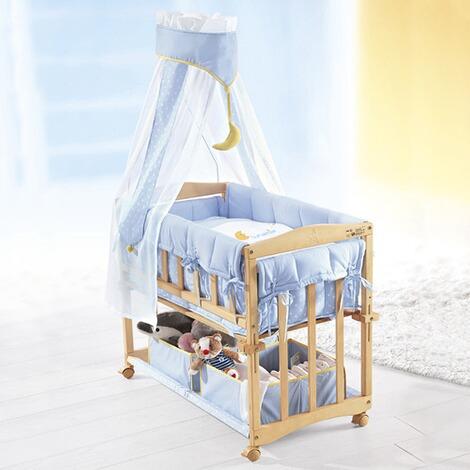 Safe Asleep Von Roba Beistellbett Stubenbett 3 In 1 Little Stars Anstellbett Grau Babybett Kinderbank Aus Holz Inkl Kompletter Ausstattung Schlafsack Amazon De Baby