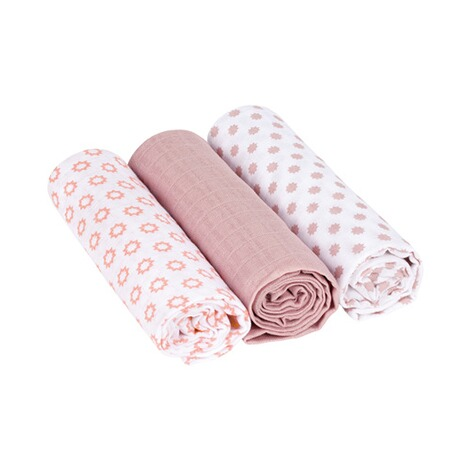 Lässig3er-Pack Mullwindel Swaddle & Burp Blanket L 85x85 cm  Little Chums Stars light pink 1
