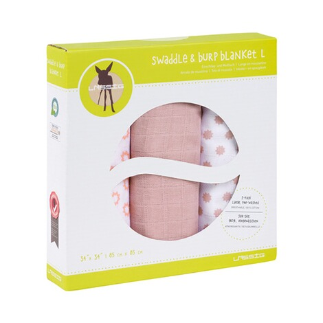 Lässig3er-Pack Mullwindel Swaddle & Burp Blanket L 85x85 cm  Little Chums Stars light pink 2