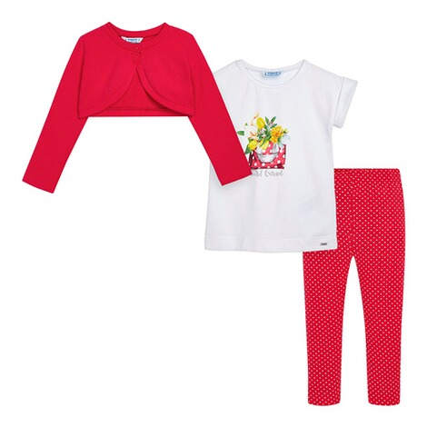 Mayoral3-tlg. Set Bolero, T-Shirt und Leggings Blumen 1