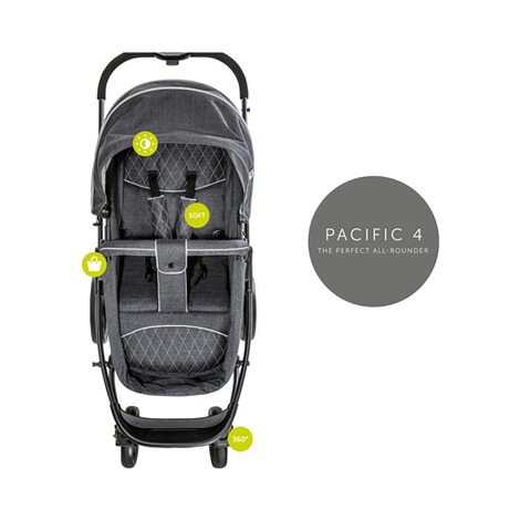 HauckPacific 4 Kombikinderwagen  Melange Charcoal 17