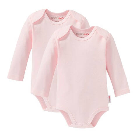 BorninoBASICS2er-Pack Bodys langarm  rosa 1