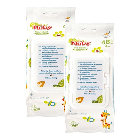 Nûby2er-Pack Feuchttücher All Natural antibakteriell 2