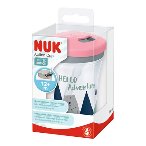 NUKTrinklernbecher mit Strohhalm, Action Cup 230 ml, ab 12 Monate  rosa / Hello Adventure 3