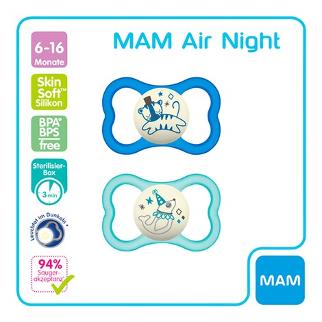 MAM2er-Pack Schnuller Air Night 6-16M 2
