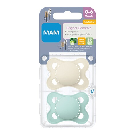 MAM2er-Pack Schnuller Elements Latex, 0-6M  mint/beige 4