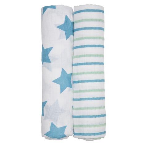 LÄSSIG 2er-Pack Mullwindel Swaddle & Burp Blanket XL Stars&Stripes ...