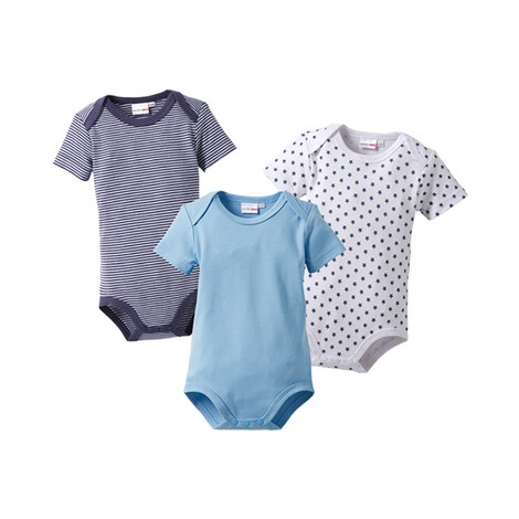 Bornino MOUSE & ELEPHANT 3er-Pack Bodys kurzarm  blau 1