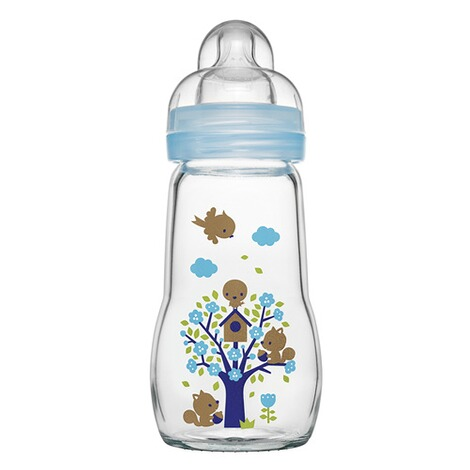 MAM  Babyflasche Feel Good 260 ml, Glas, ab 0M  hellblau 1