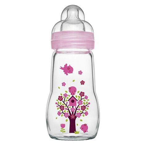 MAM  Babyflasche Feel Good 260 ml, Glas, ab 0M  rosa 1