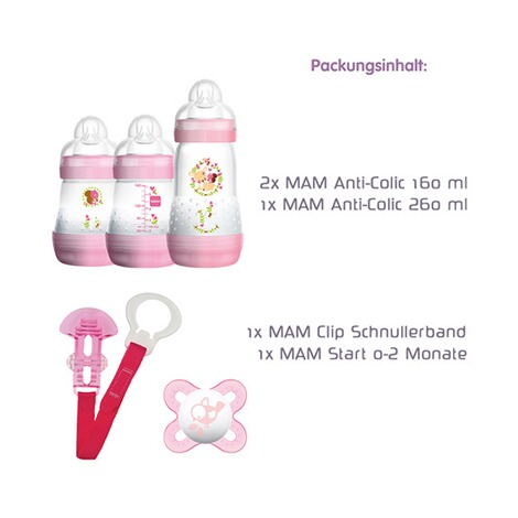MAM  5-tlg. Starter-Set Welcome to the world 160-260ml, Kunststoff  rosa 3