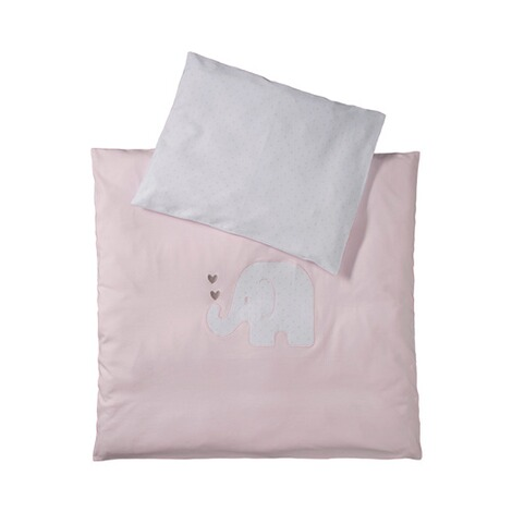 BORNINO HOME  Jersey-Bettwäsche Elefant 35x40 / 80x80 cm  rosa 1