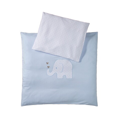 BORNINO HOME  Jersey-Bettwäsche Elefant 35x40 / 80x80 cm  blau 1