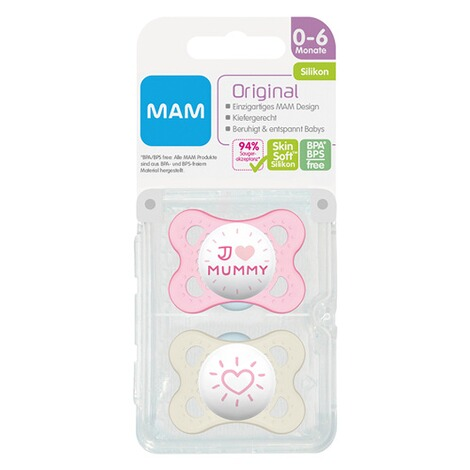 MAM2er-Pack Schnuller Original I love Mummy 0-6M  rosa/transparent 3