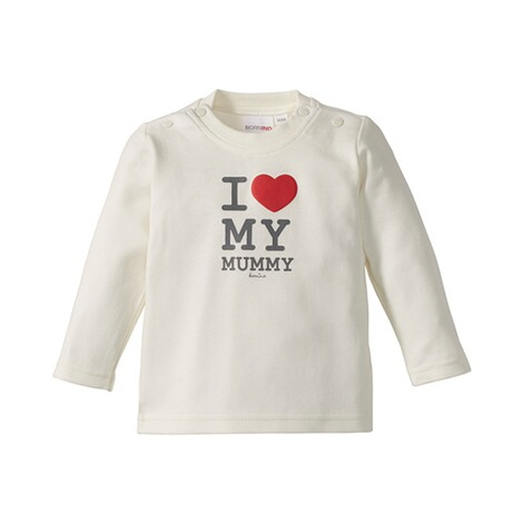 BORNINO BASICS Shirt langarm Love  wollweiß Mummy 1