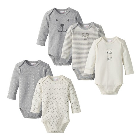 BORNINO BASICS 5er-Pack Bodys langarm 1
